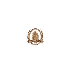 retro vintage pine cone logo design vector image