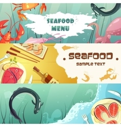 Seafood menu banners vector