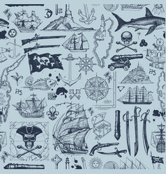 seamless pattern on pirate theme vector image