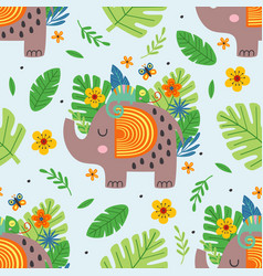 seamless pattern with cute elephant and chameleon vector image