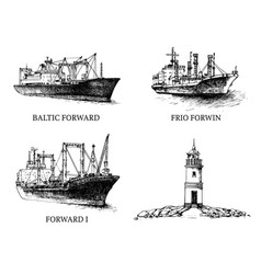 Set cargo ship reefers lighthouse vector