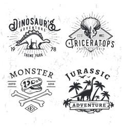 Set dino logos t-rex skull t-shirt vector