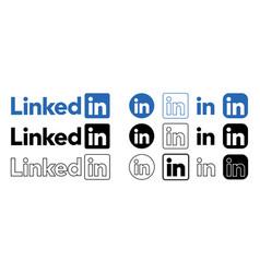 Set linkedin logo in different shape vector