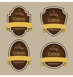Set of dark labels Coffee theme vector