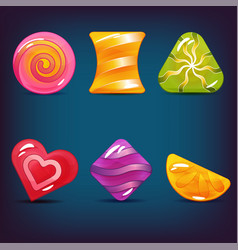 set of hard cadies lollipop and jelly icons vector image