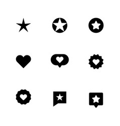 set of heart and star icon symbols of favorite vector image