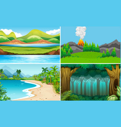 set of nature landscape vector image