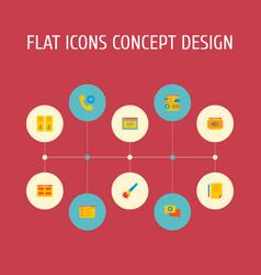 set website icons flat style symbols vector image