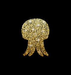 shiny logo jellyfish golden glitter sea vector image