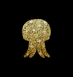 Shiny logo of jellyfish golden glitter of sea vector