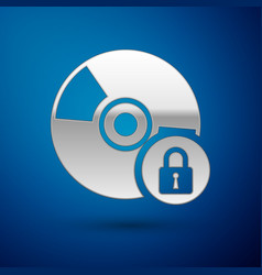 Silver cd or dvd disk with closed padlock icon vector