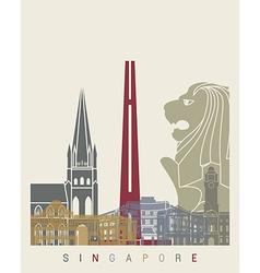 Singapore skyline poster vector