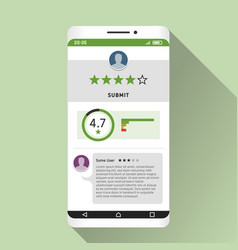 smartphone and rating mobile app on its screen vector image