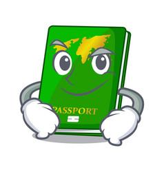 Smirking green passport in the cartoon shape vector