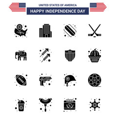 Solid glyph pack 16 usa independence day vector