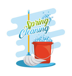 Spring cleaning set mop red plastic bucket with vector