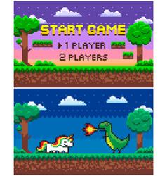 Start game players option pixel art scene set vector
