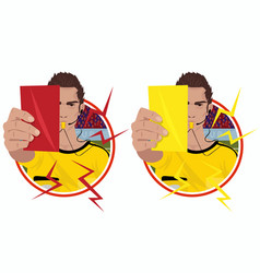 Stickers with referee holding cards vector