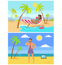 Suntanned woman and man in trunk and tie on beach vector