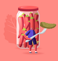 Tiny male character holding huge pickle on fork vector