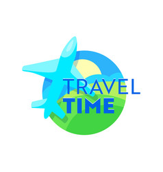 Travel time emblem with airplane over earth vector