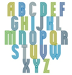 Triple stripe retro style font vector