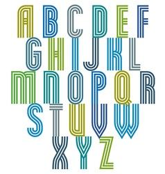Triple stripe retro style font vector image