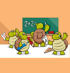 Turtle cartoon characters in classroom vector