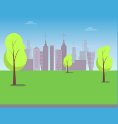 View on modern city from green park color poster vector