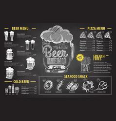 Vintage chalk drawing beer menu design restaurant vector
