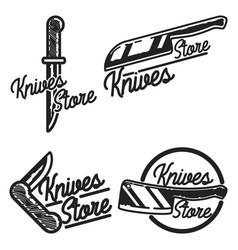 vintage knives store emblems vector image