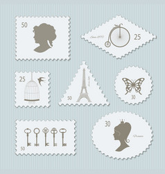 vintage postage stamps different shapes set vector image