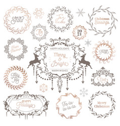 winter vintage wreath christmas calligraphic vector image