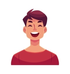 Young man face laughing facial expression vector image