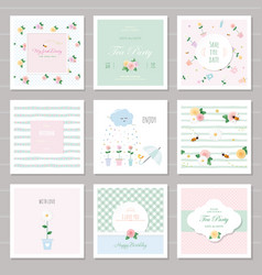 Cute cards for girls with floral decorative vector