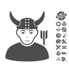 Horned Warrior Icon With Tools Bonus vector image vector image