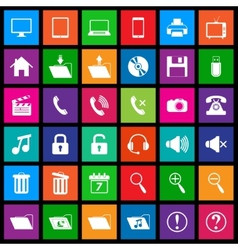 Media icons in Flat Metro Style vector image vector image