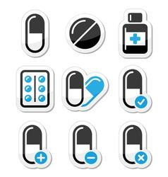 Pills medication icons set vector image