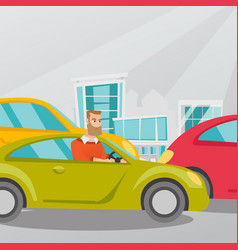angry caucasian man in car stuck in traffic jam vector image vector image