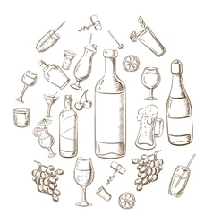 Beverages alcohol drinks fruits and glasses vector image