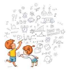 boy and girl draw a doodle on the wall vector image vector image