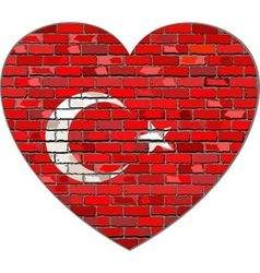 Flag of Turkey on a brick wall in heart shape vector image vector image