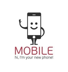 Mobile phone character vector image vector image