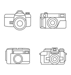 Photo camera icons set in line style vector