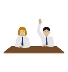 School boy and gril at a desk in classroom vector image