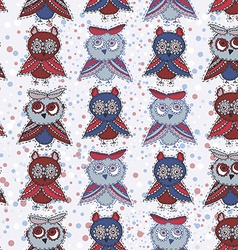 Seamless background with owls blue red gray brown vector image