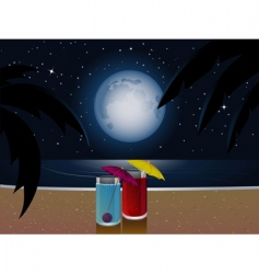 summer moonlight and cocktails vector image vector image