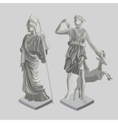 Two silhouette statues of ancient Greek men vector image