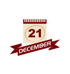 21 december calendar with ribbon vector