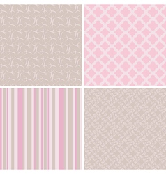 4 delicate seamless patterns vector image